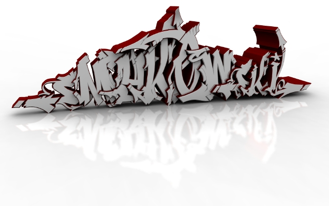 I did see some 3d graffiti work on the net lately and thought i'd try it