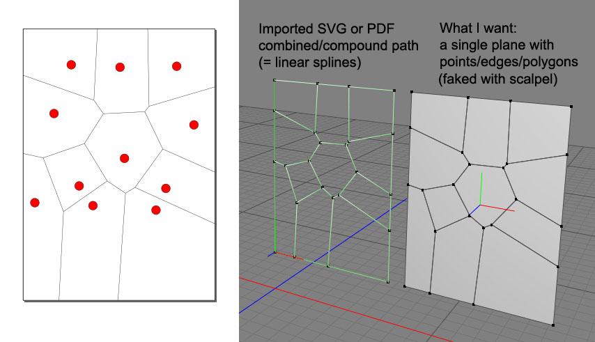 How to convert coplanar splines to coplanar polygons